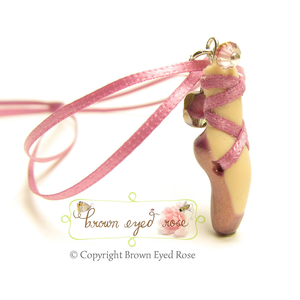 Mauve Pointe Shoe Necklace Polymer Clay Pendant