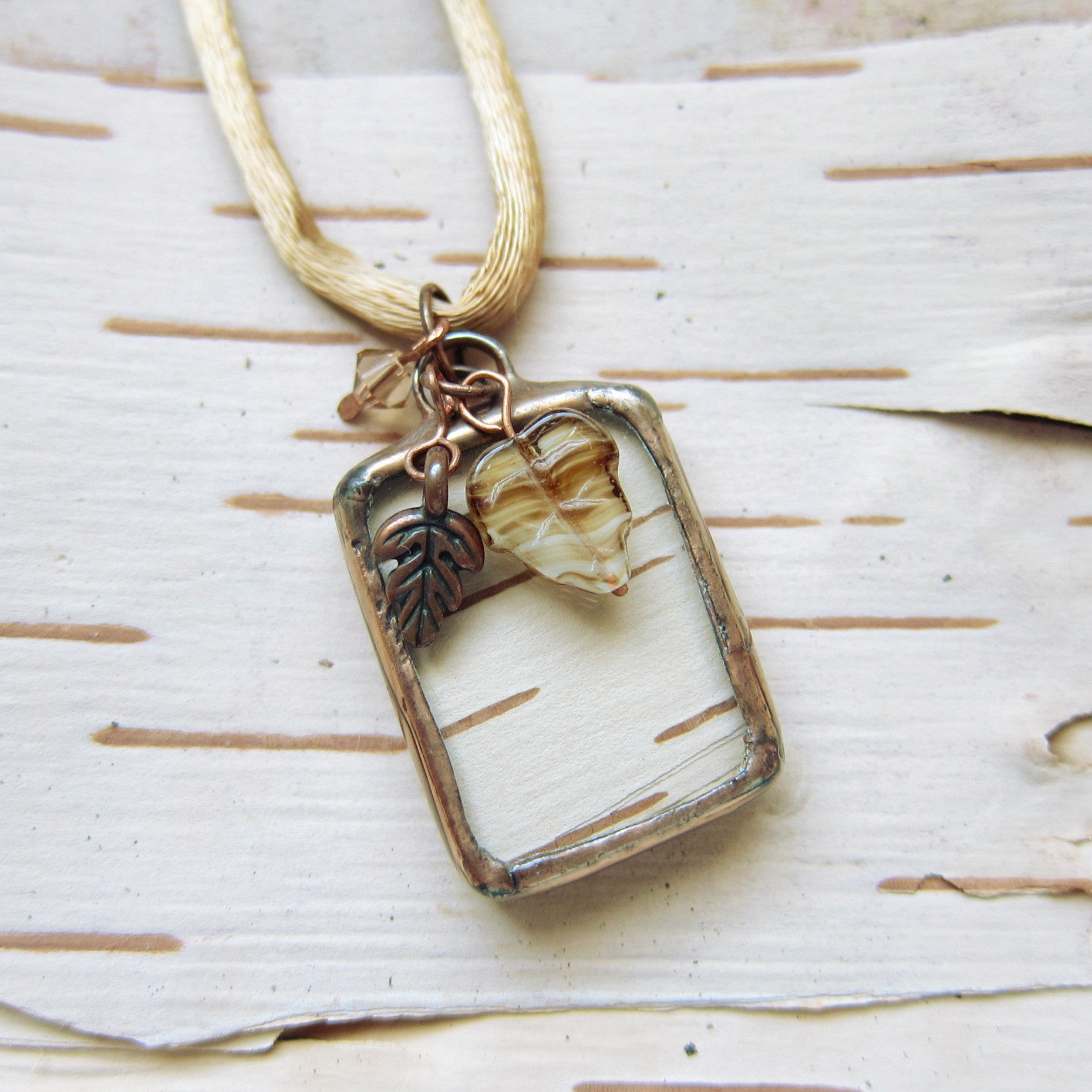 Copper birch bark stained glass pendant necklace