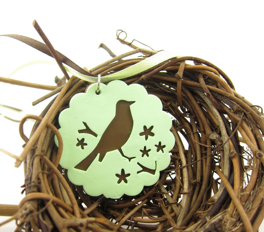 Bird Necklace Women's Pastel Polymer Clay Robin Pendant
