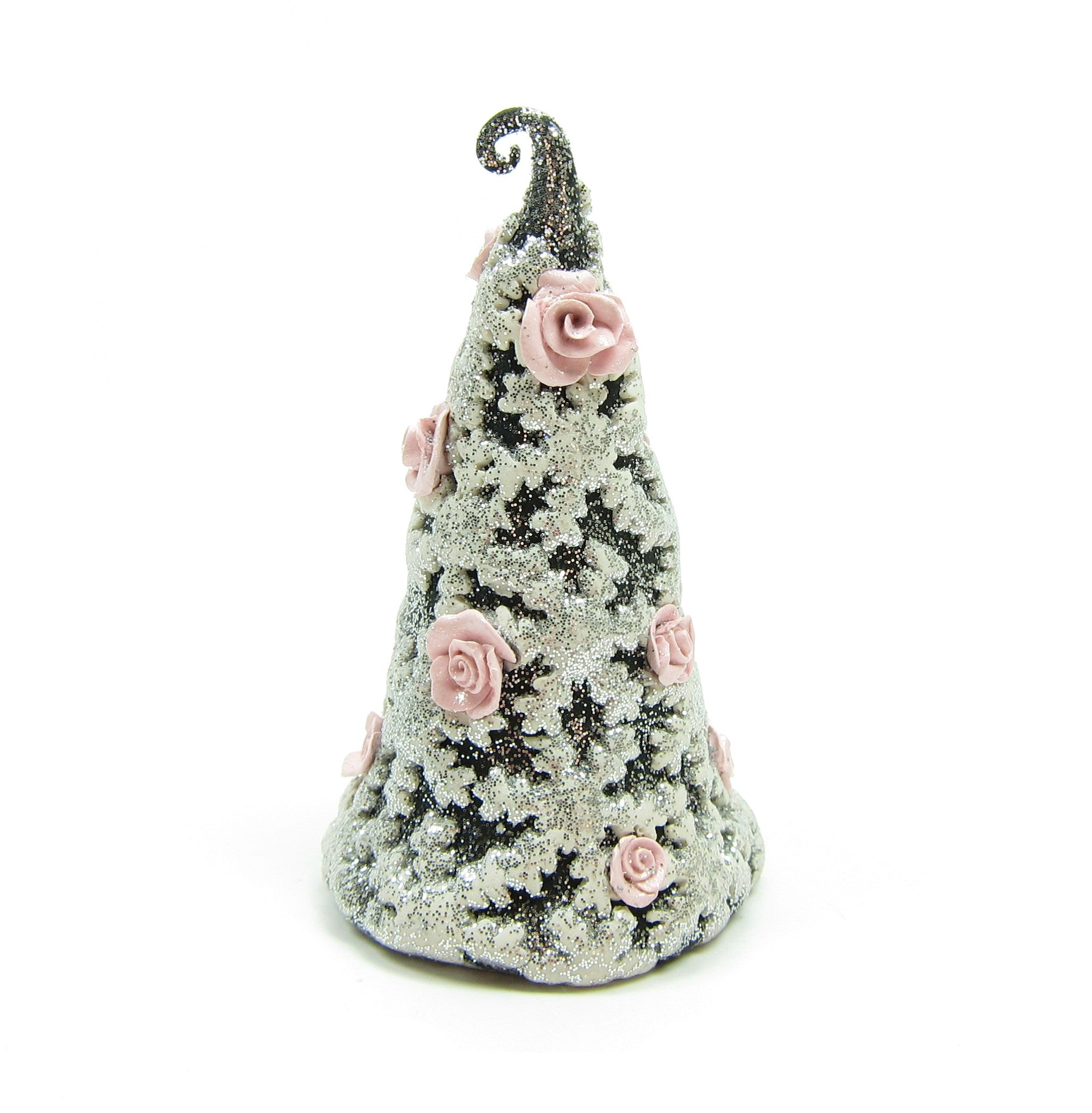 Black & White Christmas Tree Figurine with Pink Roses