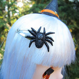 Black glitter spider barrette hair clips