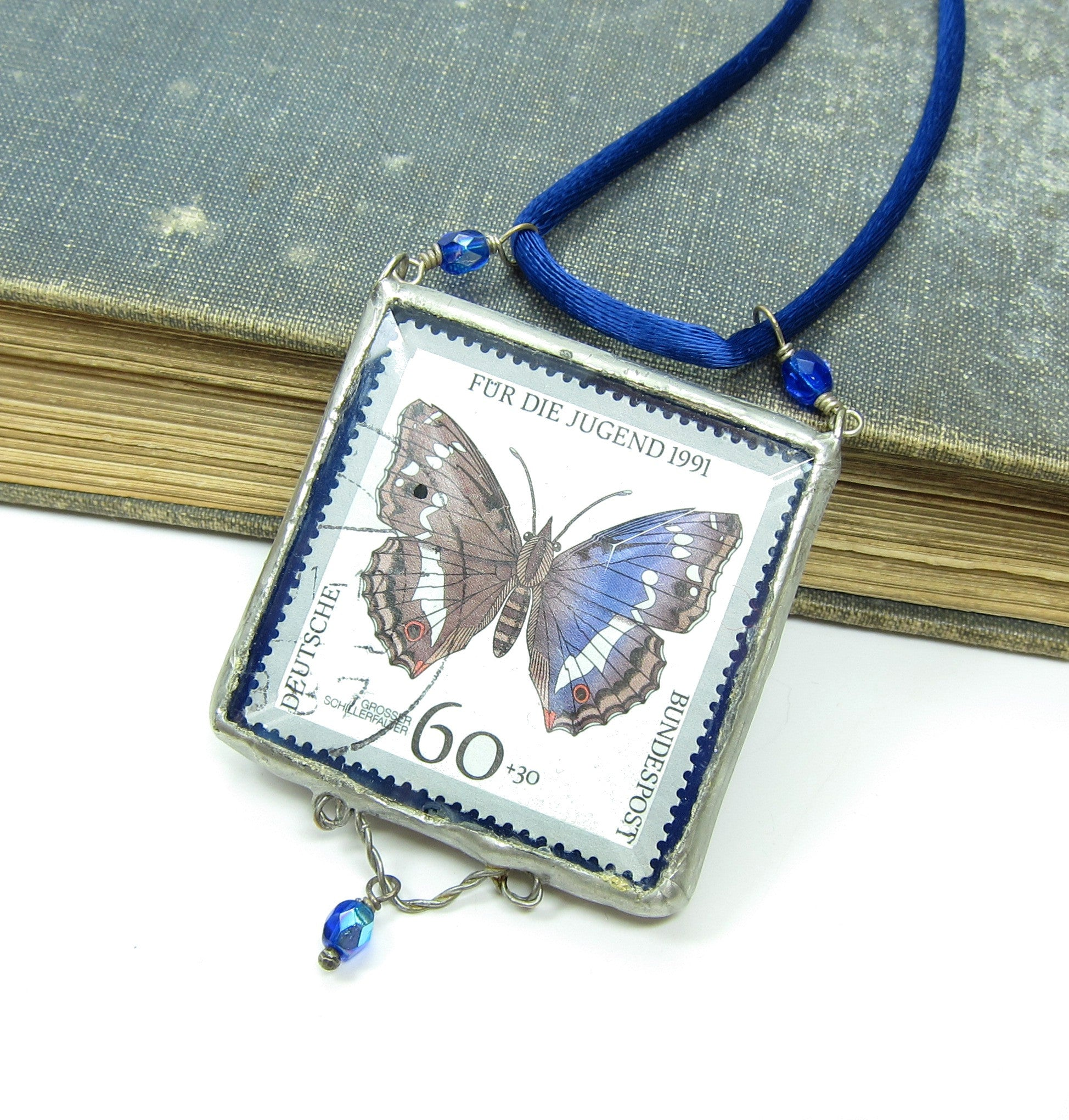 Soldered Glass Pendant with Real Postage Stamp