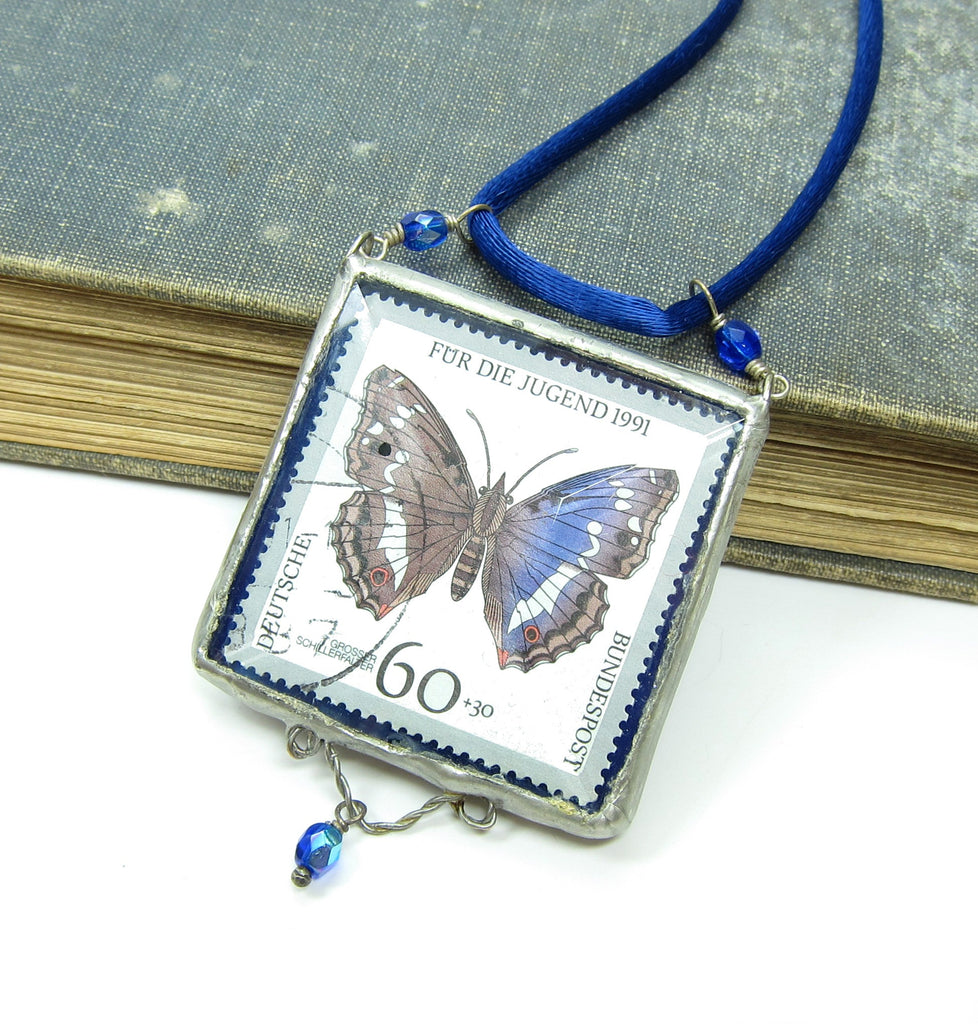 Blue Butterfly Necklace with German Postage Stamp Soldered Pendant