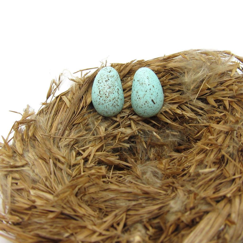 Robin's Egg Earrings Polymer Clay Eggs on Posts