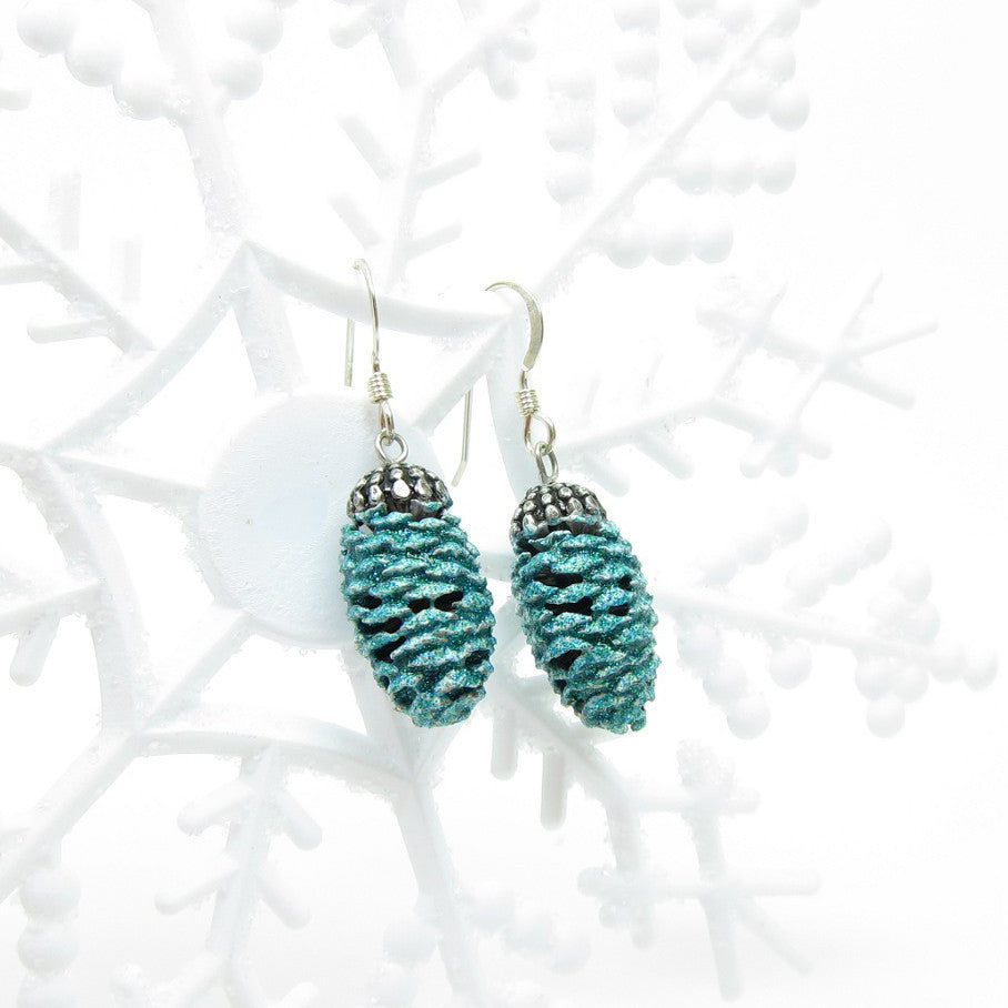 Pine Cone Earrings - Sterling Silver, Winter Blue Glitter Pinecones