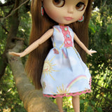 Sleeveless summer dress for Blythe with pink lace trim