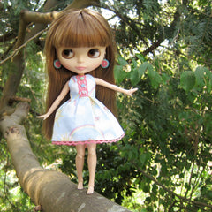 Blythe doll dress with blue sky, rainbow, clouds, butterflies