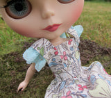 Blythe doll dress with pastel flowers
