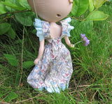 Blythe doll dress with open back and snap fastener