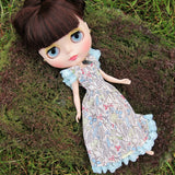 Mori girl style Neo Blythe dress with aqua blue lace trim