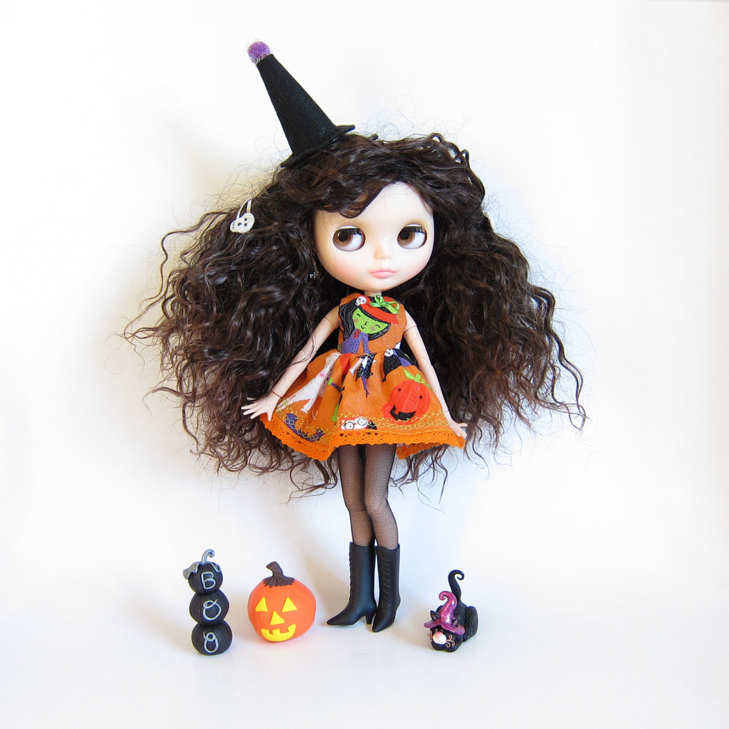 Halloween Dress for Blythe Doll Orange with Wicked Witch