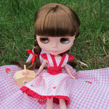 Pink and white gingham Blythe dress with strawberries
