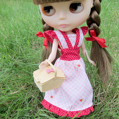 Blythe Summer Picnic Dress with Pink Gingham, Strawberries, and Red and White Polka Dots