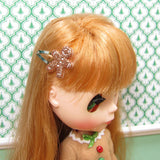 Brown glittery gingerbread man barrettes for Blythe dolls