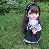 Black, pink and blue folk costume for Blythe