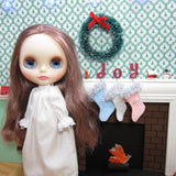 Miniature hand stitched felt Christmas stockings for Blythe dolls