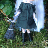 Black lace trimmed dress or nightgown for Blythe