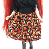 Halloween skirt for Blythe with candy corn print