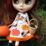 Blythe doll dress with squirrels and pumpkins for fall