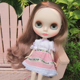 White peasant dress for Blythe with pink apron