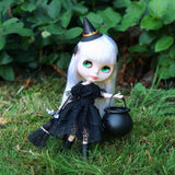 Blythe doll in witch dress and hat