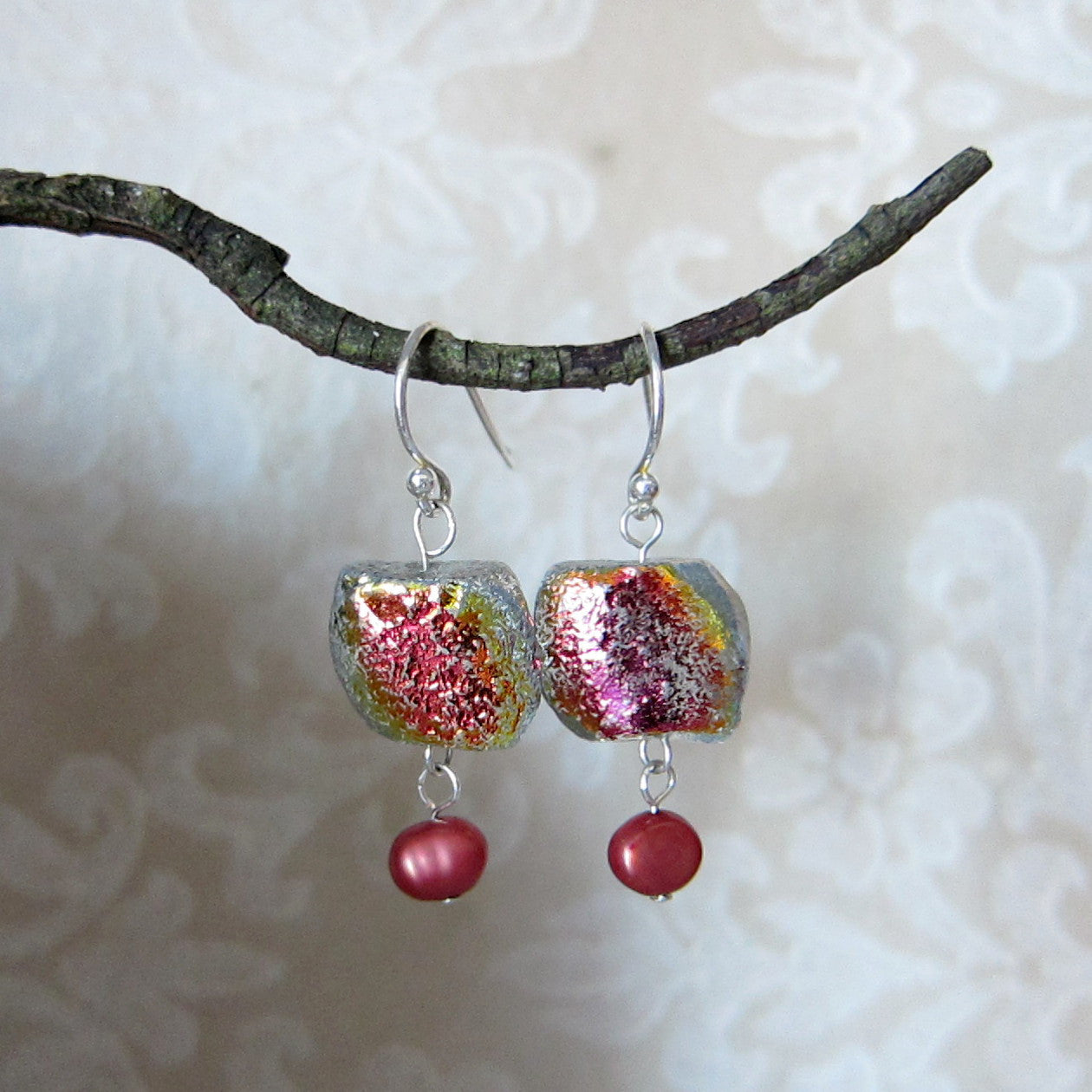 Cranberry Ice Sterling Silver Earrings