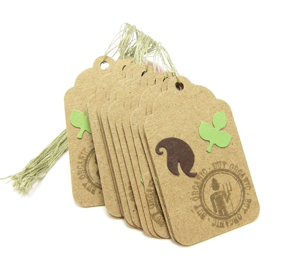 Buy Organic Hang Tags Kraft Paper Green Leaves String Price Tags