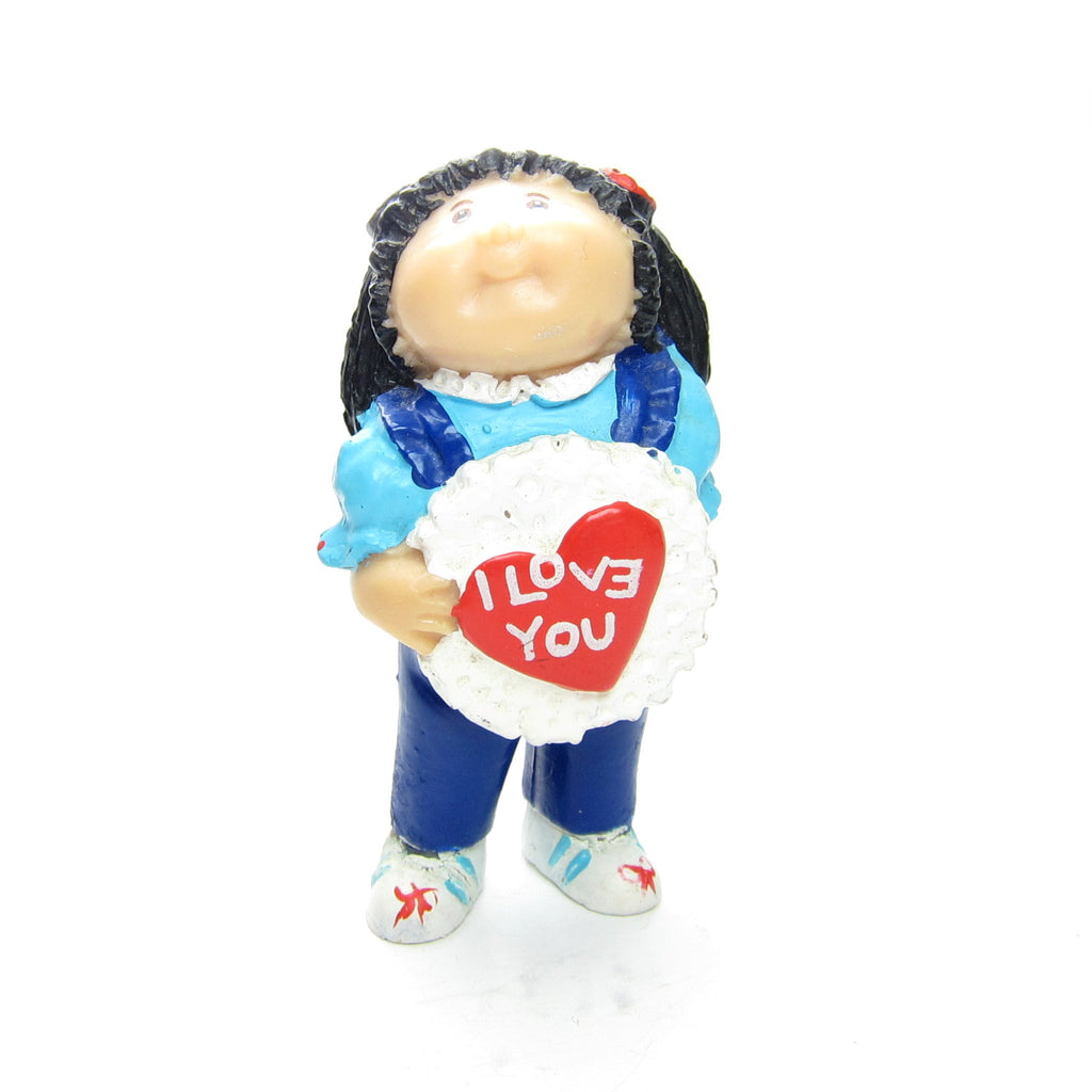 Cabbage Patch Kids Miniature Figurine Vintage PVC Girl with I Love You Heart
