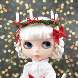 Crown of candles and red hair bow for Blythe Saint Lucia's Day outfit