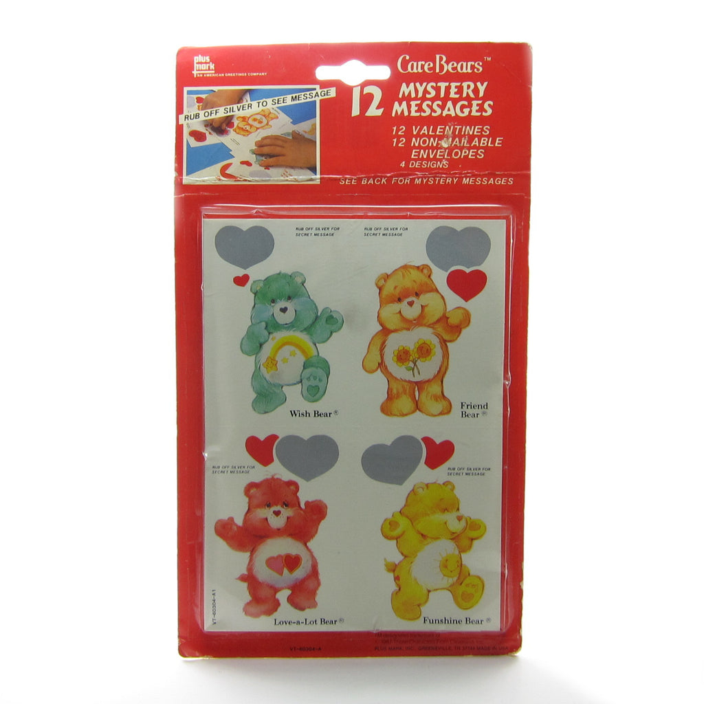 Care Bears Valentines with Mystery Messages Vintage Pack of 12 Valentine's Day Cards
