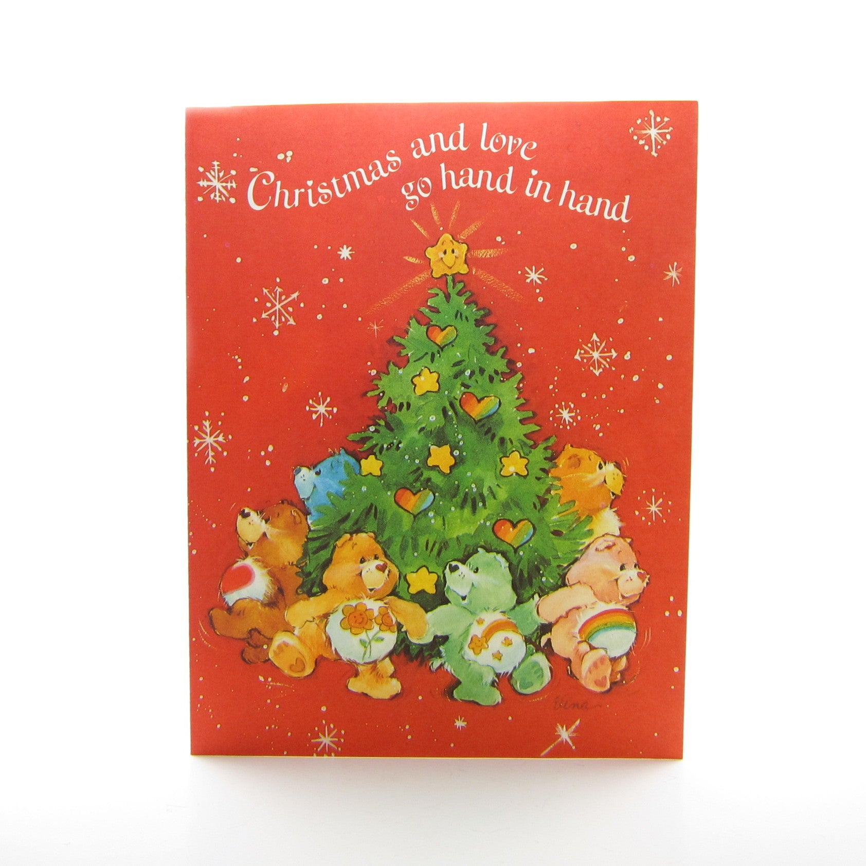 Christmas Care Bears Greeting Card With Envelope Brown Eyed Rose