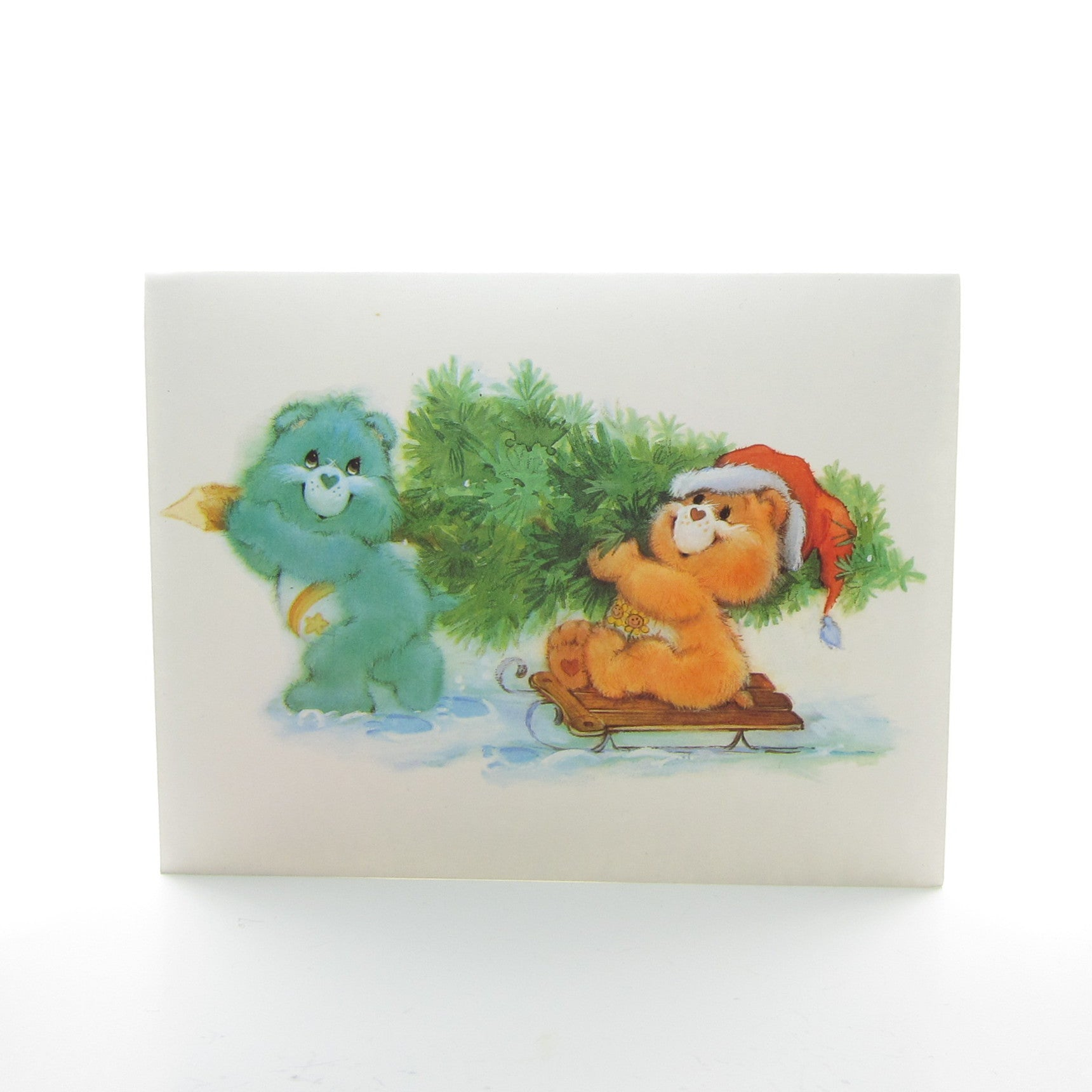 Care Bears Christmas card Wish & Friend Bear with tree