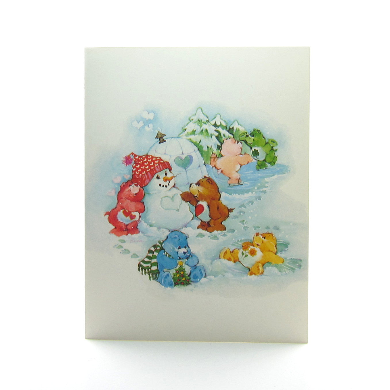 Care Bears Happy Holidays greeting card with snowman and igloo