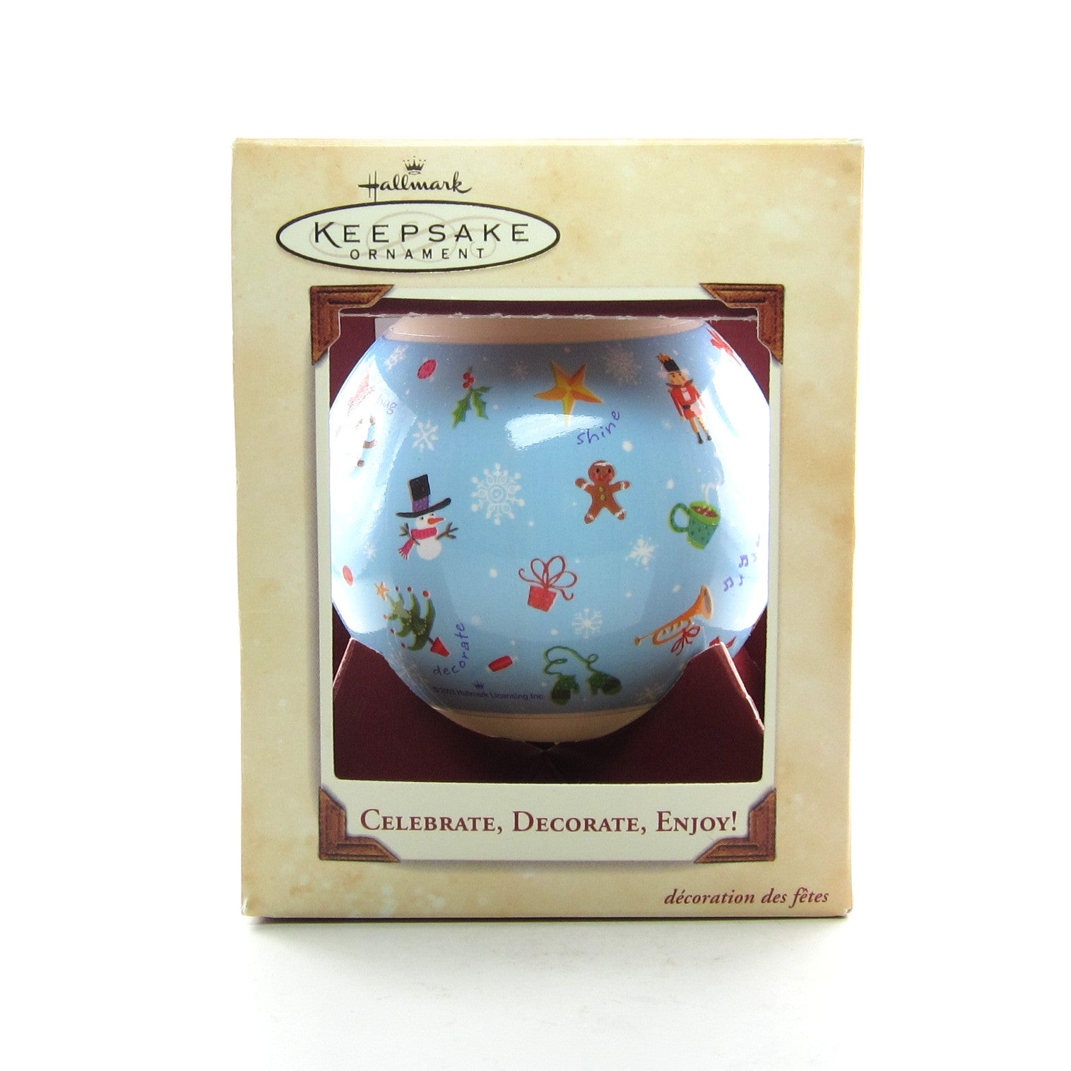 Celebrate, Decorate, Enjoy! 2003 glass ball Hallmark Christmas ornament