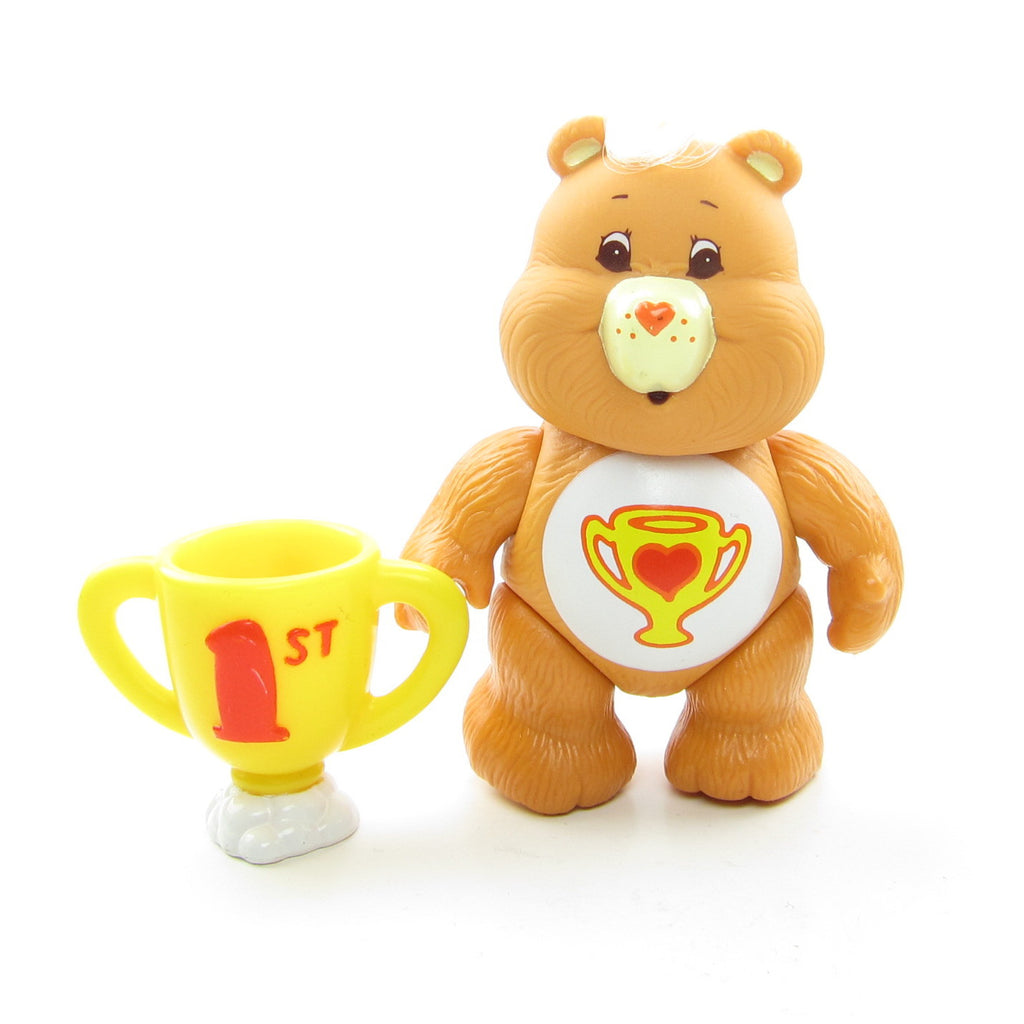Champ Bear Vintage Care Bears Poseable 3-Inch Figure with Good Sport Trophy