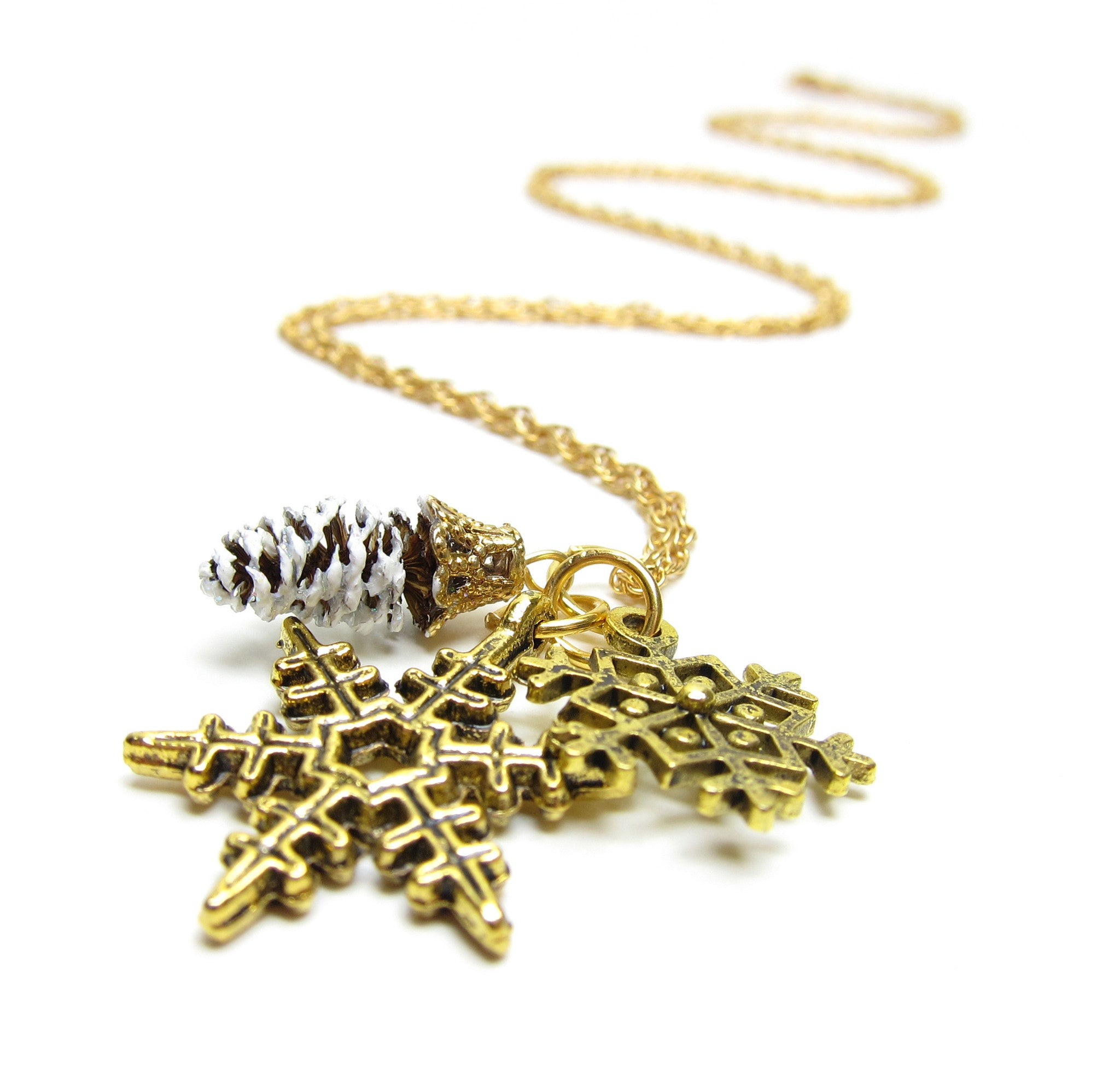 Gold Necklace with Snowflake Charms and Real Pine Cone
