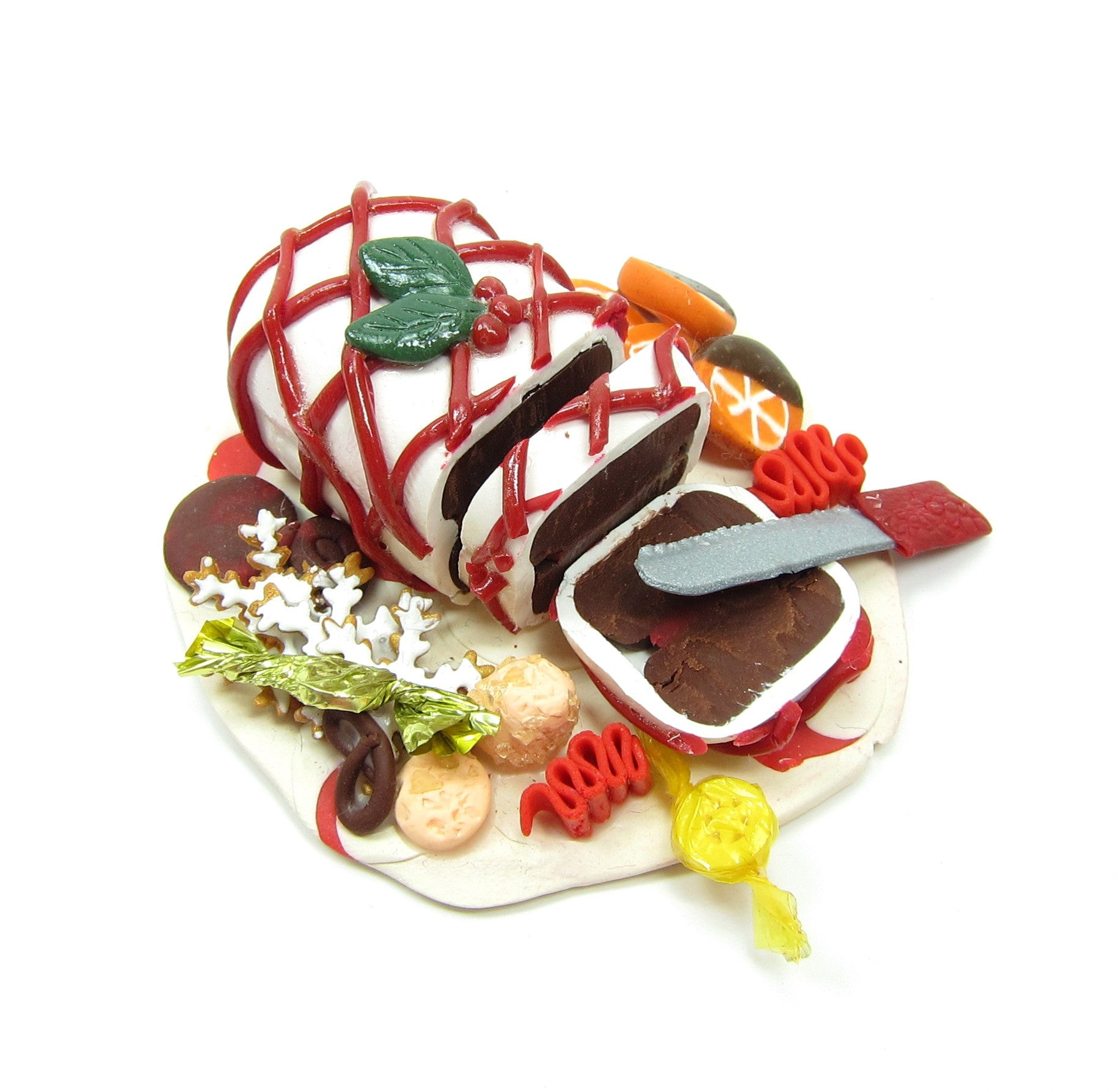 Polymer Clay Christmas Cake Platter with Candies