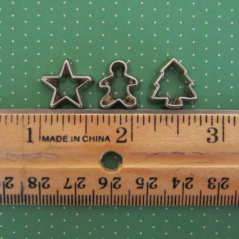 christmas cookie cutters miniature dollhouse or playscale set - Metal Christmas Cookie Cutters