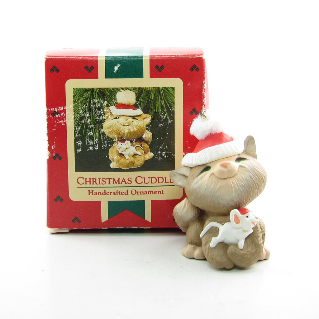 Hallmark Christmas Cuddle Vintage 1987 Cat & Mouse Keepsake Ornament