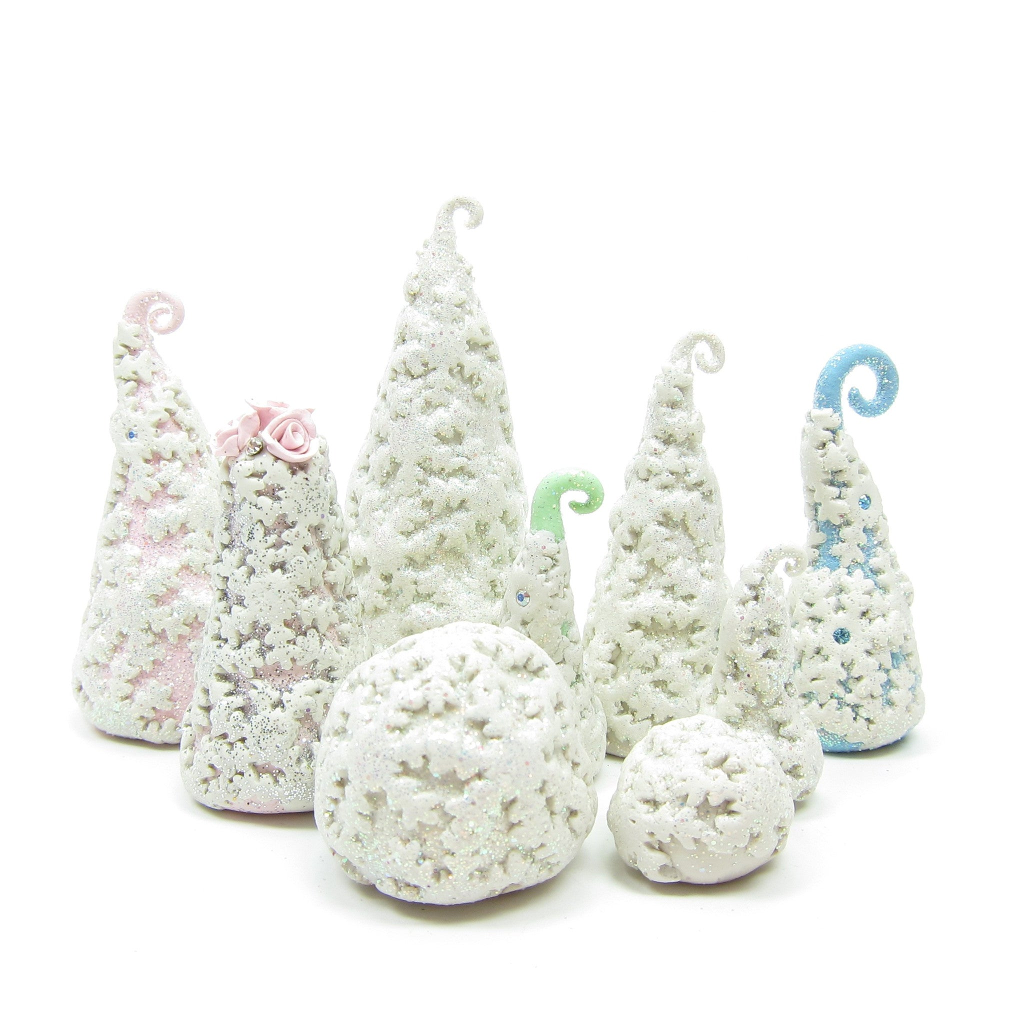 Polymer Clay Christmas Village.Snowflake Bushes Polymer Clay Miniature White Winter