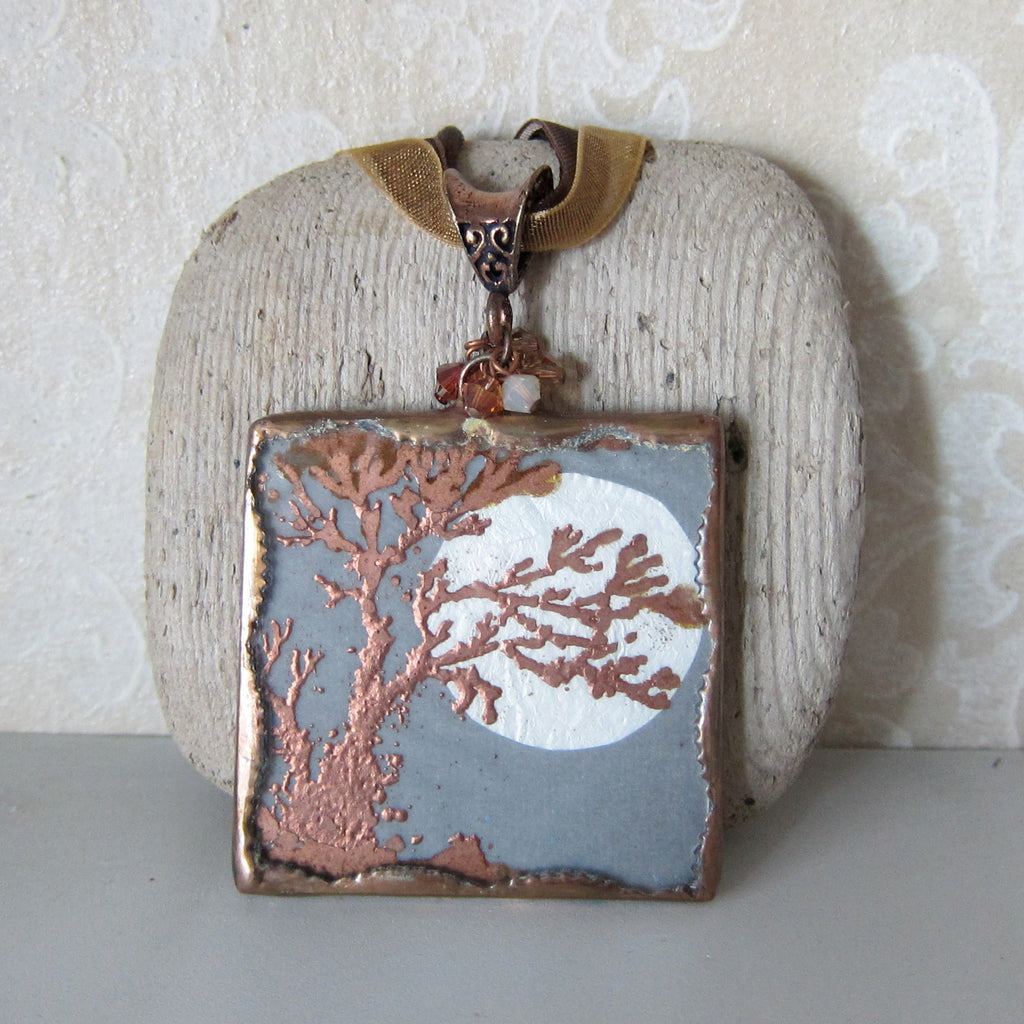 Copper Moon Necklace Soldered Glass Pendant Full Moon & Tree, Swarovski Crystals