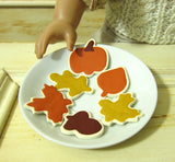 Plate of autumn and fall cookies for dolls