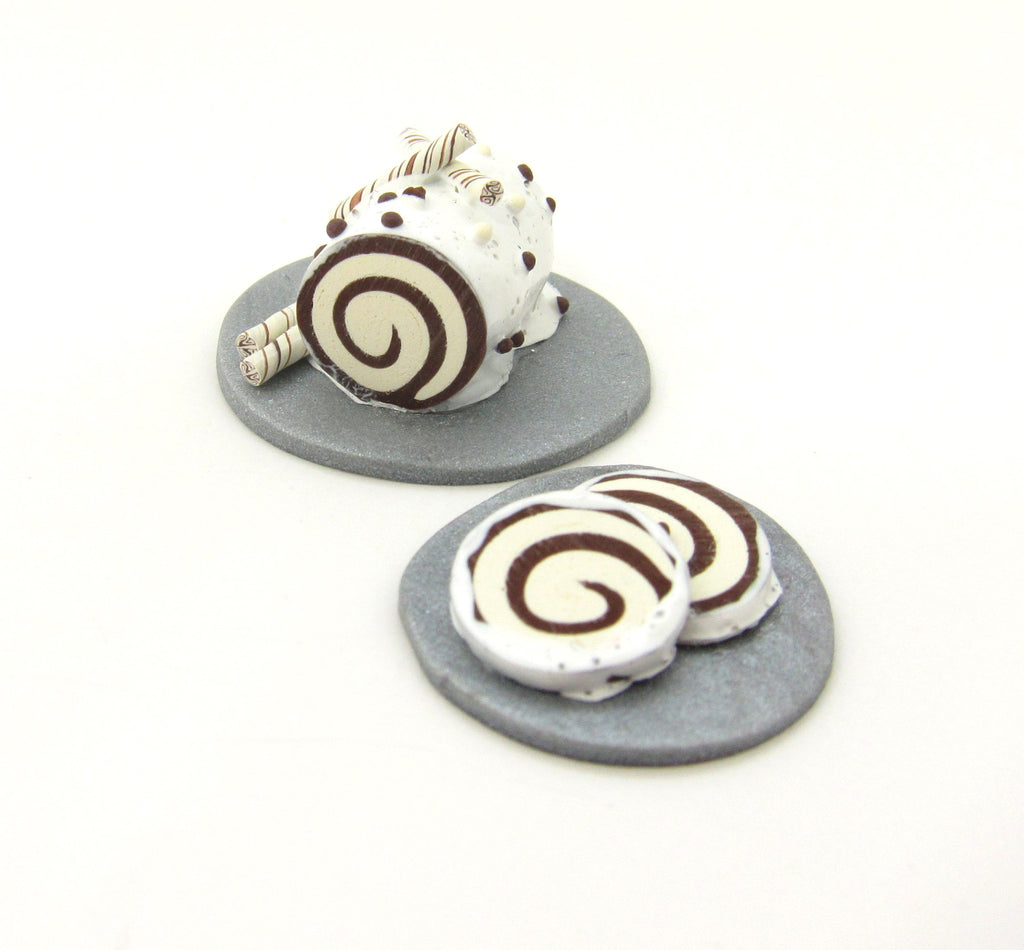 Miniature Swiss Roll Polymer Clay Dollhouse Cake Chocolate, White Frosting