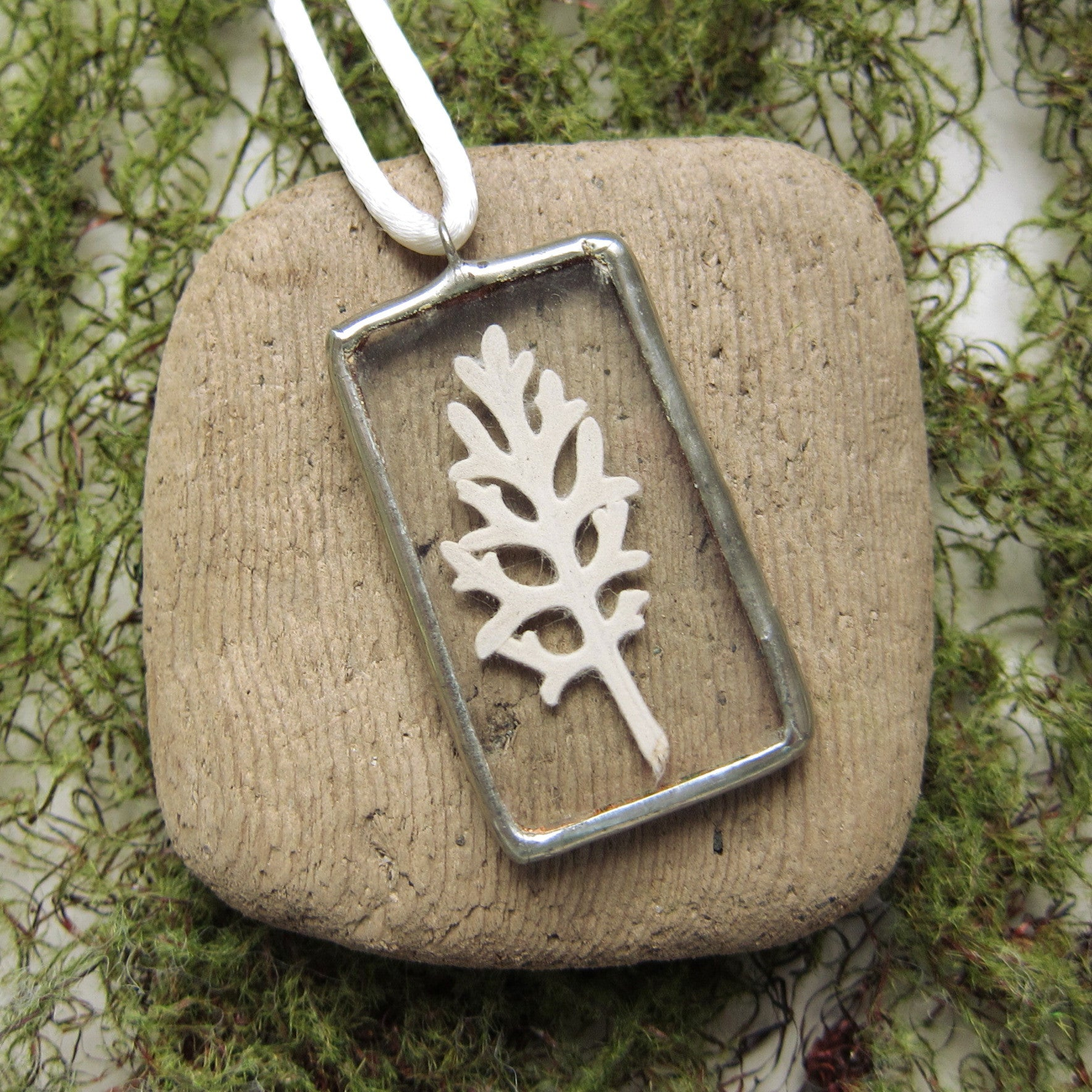 Dusty miller leaf in soldered glass pendant necklace
