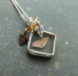 Fairy Wing Charm with Silver and Copper Oak Leaf Charms