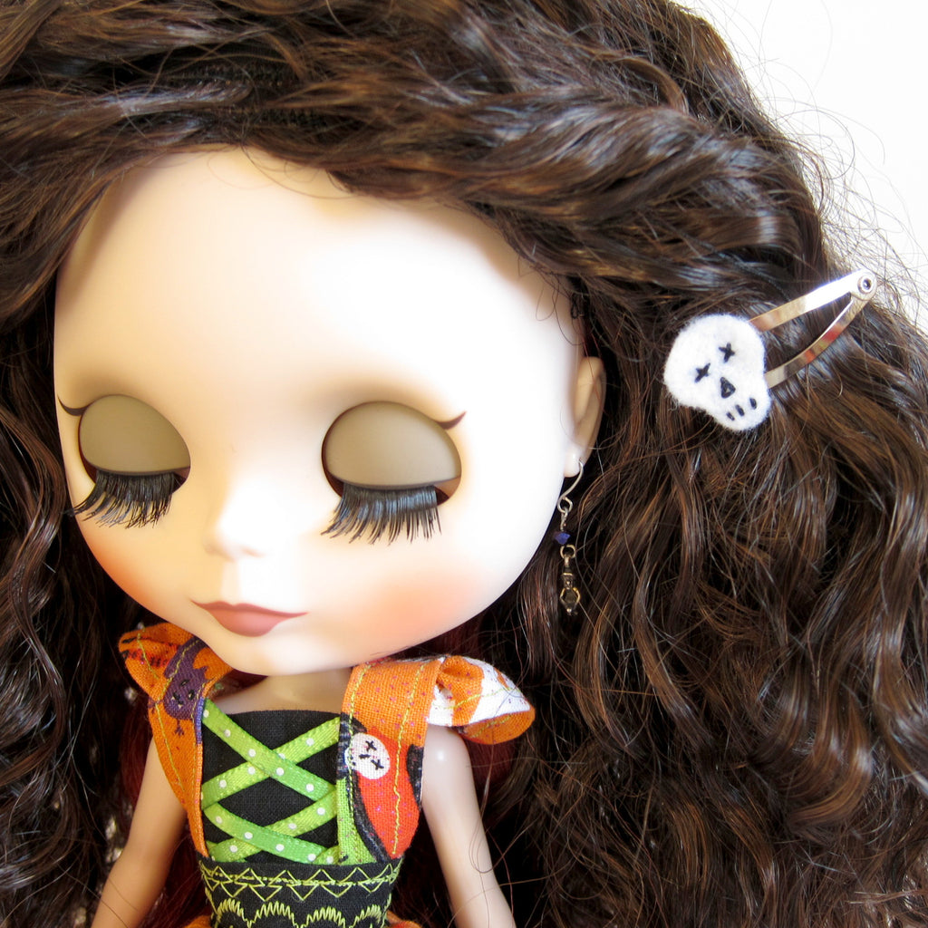 Skull Barrettes for Blythe, Pullip & Playscale Dolls