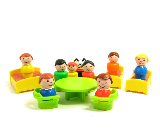 Fisher-Price Play Family Little People mom, dad, kids, dog, table, chairs, beds