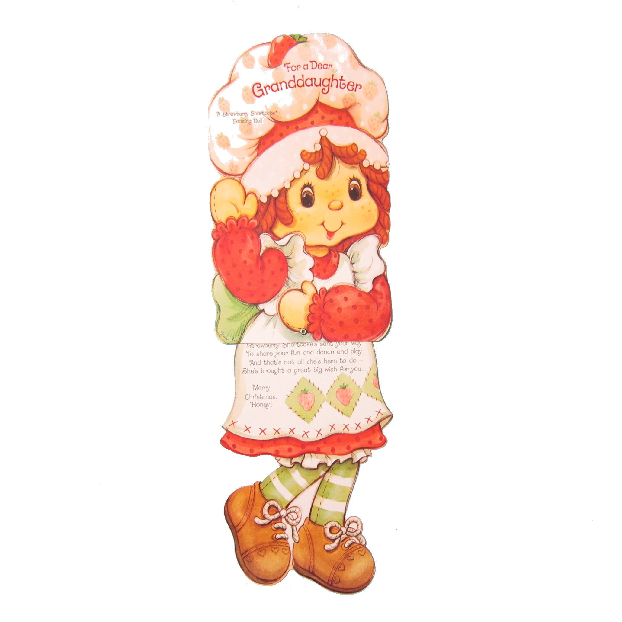 Strawberry Shortcake Dancing Doll Christmas card for granndaughter