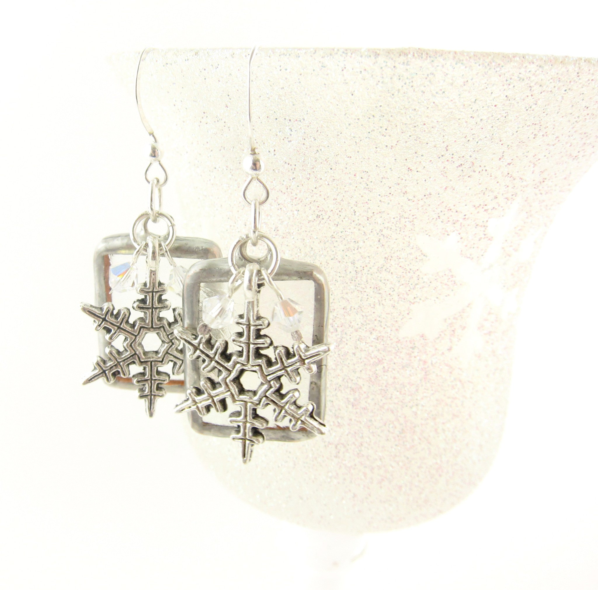 Snowflake stained glass earrings