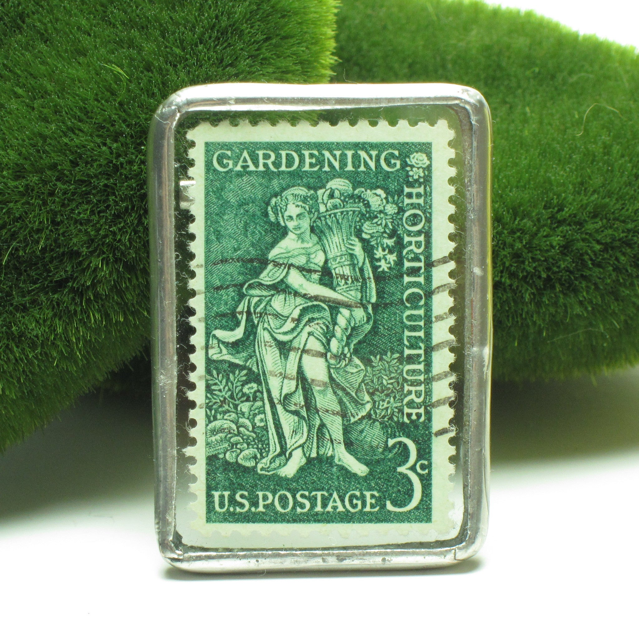 Gardening & Horticulture postage stamp pin brooch